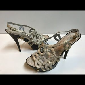 Jessica Simpson off white high heels with straps!